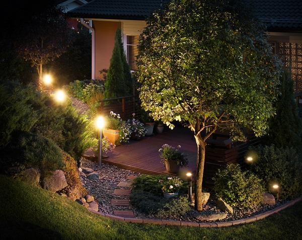 Illuminated home garden path patio lights